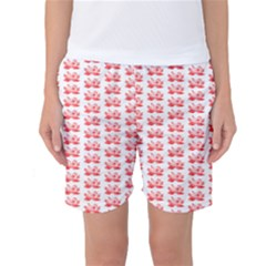 Red Lotus Floral Pattern Women s Basketball Shorts by paulaoliveiradesign