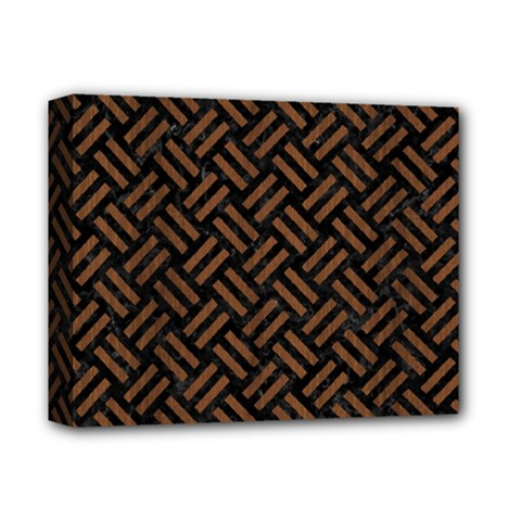 Woven2 Black Marble & Brown Wood Deluxe Canvas 14  X 11  (stretched) by trendistuff
