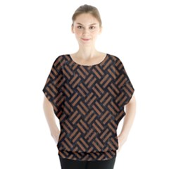 Woven2 Black Marble & Brown Wood Batwing Chiffon Blouse by trendistuff