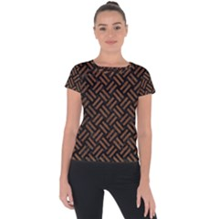 Woven2 Black Marble & Brown Wood Short Sleeve Sports Top
