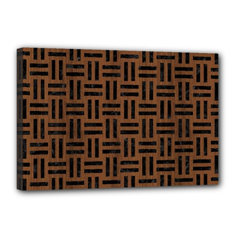 Woven1 Black Marble & Brown Wood (r) Canvas 18  X 12  (stretched) by trendistuff