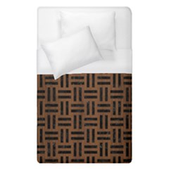Woven1 Black Marble & Brown Wood (r) Duvet Cover (single Size) by trendistuff