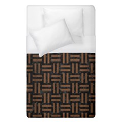 Woven1 Black Marble & Brown Wood Duvet Cover (single Size) by trendistuff