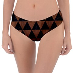Triangle3 Black Marble & Brown Wood Reversible Classic Bikini Bottoms