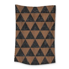 Triangle3 Black Marble & Brown Wood Small Tapestry by trendistuff