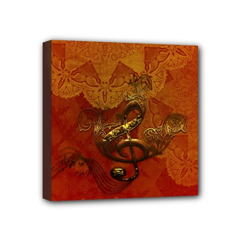 Golden Clef On Vintage Background Mini Canvas 4  X 4  by FantasyWorld7