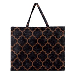 Tile1 Black Marble & Brown Wood Zipper Large Tote Bag by trendistuff