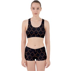 Tile1 Black Marble & Brown Wood Work It Out Sports Bra Set