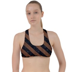 Str3 Bk Mrbl Br Wood (r) Criss Cross Racerback Sports Bra
