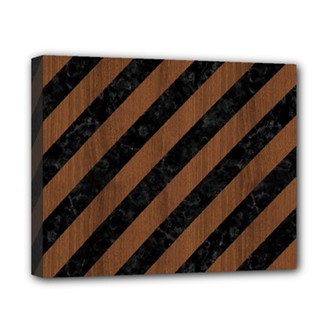 Stripes3 Black Marble & Brown Wood Canvas 10  X 8  (stretched) by trendistuff