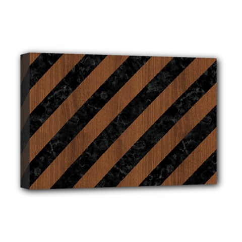 Stripes3 Black Marble & Brown Wood Deluxe Canvas 18  X 12  (stretched) by trendistuff