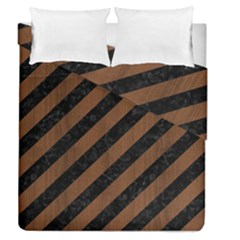 Stripes3 Black Marble & Brown Wood Duvet Cover Double Side (queen Size) by trendistuff