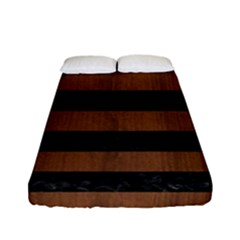 Stripes2 Black Marble & Brown Wood Fitted Sheet (full/ Double Size) by trendistuff