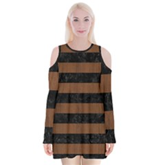 Stripes2 Black Marble & Brown Wood Velvet Long Sleeve Shoulder Cutout Dress by trendistuff