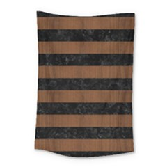 Stripes2 Black Marble & Brown Wood Small Tapestry by trendistuff