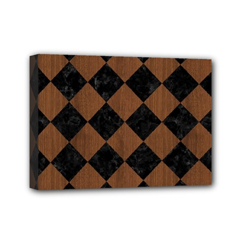 Square2 Black Marble & Brown Wood Mini Canvas 7  X 5  (stretched) by trendistuff