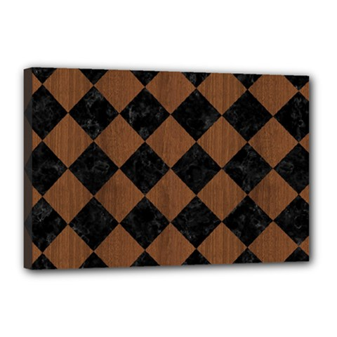 Square2 Black Marble & Brown Wood Canvas 18  X 12  (stretched) by trendistuff
