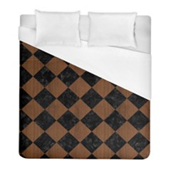 Square2 Black Marble & Brown Wood Duvet Cover (full/ Double Size) by trendistuff