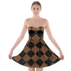 Square2 Black Marble & Brown Wood Strapless Bra Top Dress