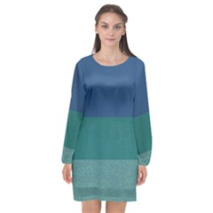 Blue Gradient Glitter Texture Pattern  Long Sleeve Chiffon Shift Dress