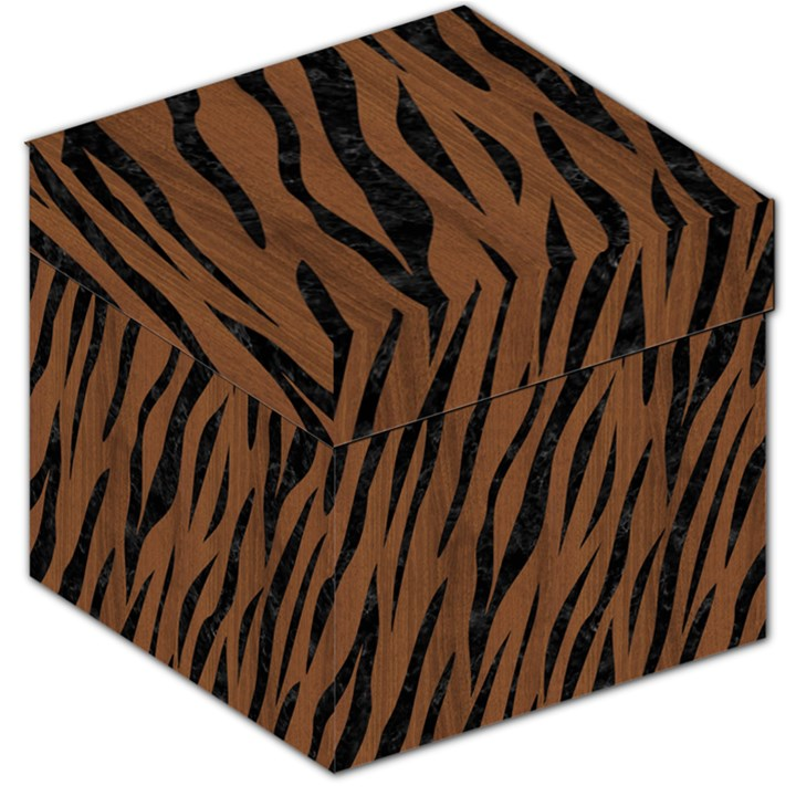 SKIN3 BLACK MARBLE & BROWN WOOD (R) Storage Stool 12