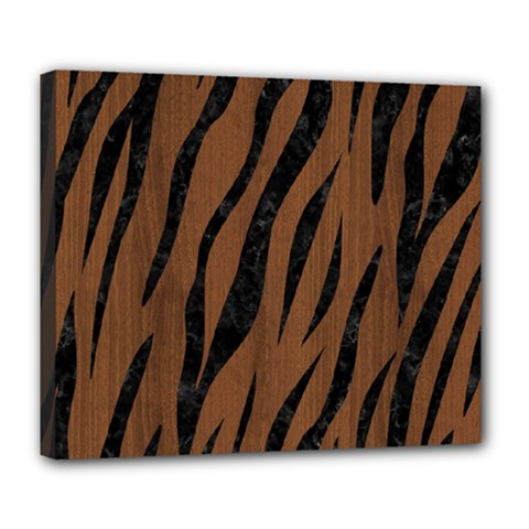 Skin3 Black Marble & Brown Wood (r) Deluxe Canvas 24  X 20  (stretched) by trendistuff