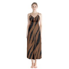 Skin3 Black Marble & Brown Wood (r) Button Up Chiffon Maxi Dress