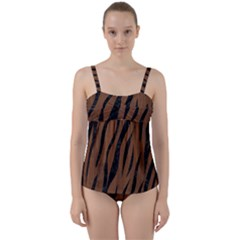 Skin3 Black Marble & Brown Wood (r) Twist Front Tankini Set