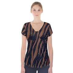Skin3 Black Marble & Brown Wood Short Sleeve Front Detail Top by trendistuff