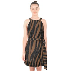 Skin3 Black Marble & Brown Wood Halter Collar Waist Tie Chiffon Dress
