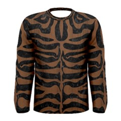 Skin2 Black Marble & Brown Wood Men s Long Sleeve Tee