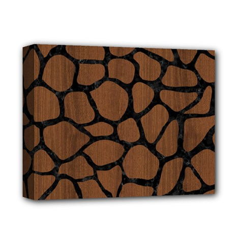 Skin1 Black Marble & Brown Wood Deluxe Canvas 14  X 11  (stretched) by trendistuff