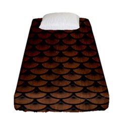 Scales3 Black Marble & Brown Wood (r) Fitted Sheet (single Size) by trendistuff