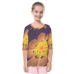 Beautiful Violet & Peach Primrose Fractal Flowers Kids  Quarter Sleeve Raglan Tee