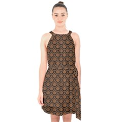 Scales2 Black Marble & Brown Wood (r) Halter Collar Waist Tie Chiffon Dress