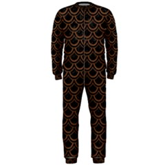 Scales2 Black Marble & Brown Wood Onepiece Jumpsuit (men) by trendistuff