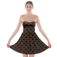 Scales2 Black Marble & Brown Wood Strapless Bra Top Dress