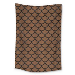 Scales1 Black Marble & Brown Wood (r) Large Tapestry by trendistuff
