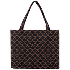 Scales1 Black Marble & Brown Wood Mini Tote Bag by trendistuff