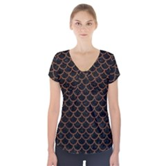 Scales1 Black Marble & Brown Wood Short Sleeve Front Detail Top