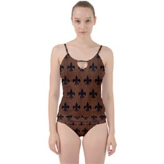 Royal1 Black Marble & Brown Wood Cut Out Top Tankini Set