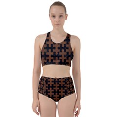 Puzzle1 Black Marble & Brown Wood Bikini Swimsuit Spa Swimsuit