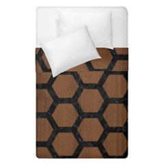 Hexagon2 Black Marble & Brown Wood (r) Duvet Cover Double Side (single Size)