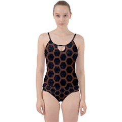 Hexagon2 Black Marble & Brown Wood Cut Out Top Tankini Set