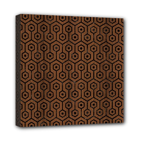 Hexagon1 Black Marble & Brown Wood (r) Mini Canvas 8  X 8  (stretched) by trendistuff