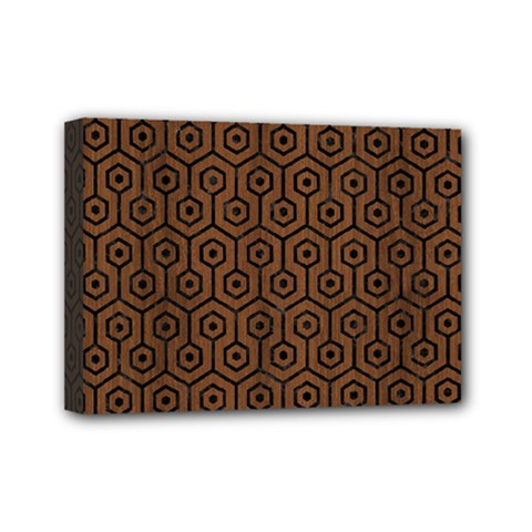 Hexagon1 Black Marble & Brown Wood (r) Mini Canvas 7  X 5  (stretched) by trendistuff