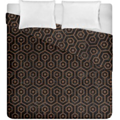 Hexagon1 Black Marble & Brown Wood Duvet Cover Double Side (king Size) by trendistuff