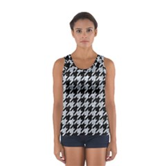 Houndstooth1 Black Marble & Brown Wood Sport Tank Top