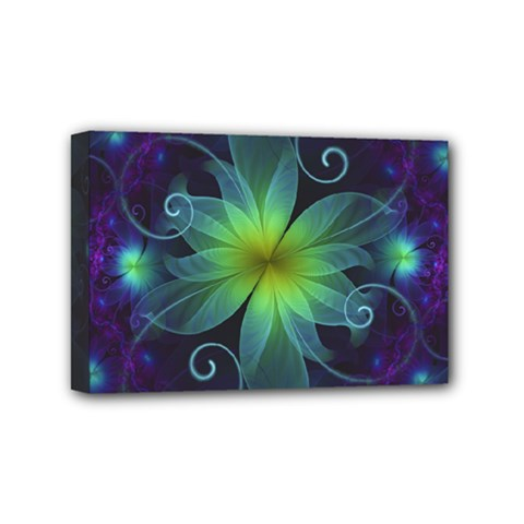Blue And Green Fractal Flower Of A Stargazer Lily Mini Canvas 6  X 4  by jayaprime