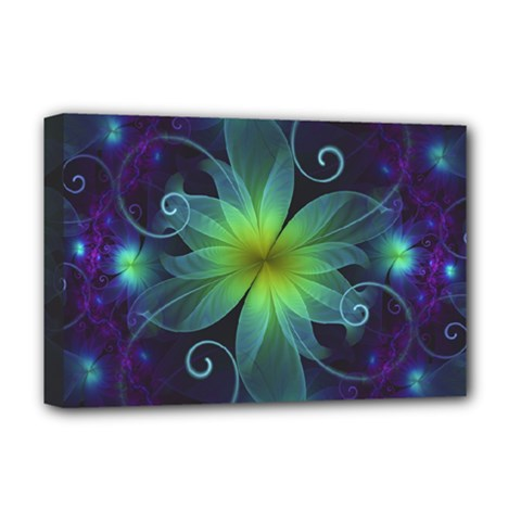 Blue And Green Fractal Flower Of A Stargazer Lily Deluxe Canvas 18  X 12   by jayaprime